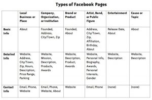 Facebook page types
