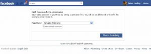 setting up a Facebook username