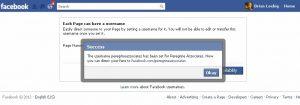 Facebook - setting a username