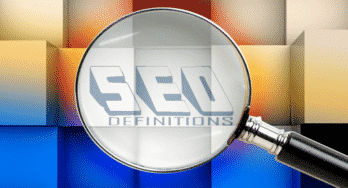 SEO Definitions, magnifying glass illustration