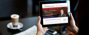 Gerstenfield attorney website on a tablet with coffee beverage