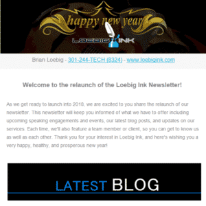 Happy New Year - relaunch of Loebig Ink newsletter