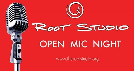 Root Studio Open Mic Night (image: old style microphone on red background)