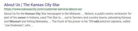 Kansas City Star Google listing