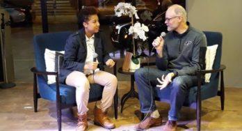 Jamilah Corbitt and Brian Loebig talking at Mavericks on the Move 11/14/2018