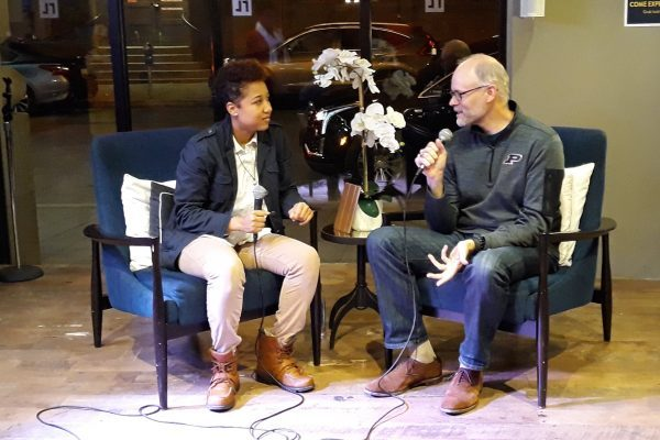 Jamilah Corbitt and Brian Loebig talking at Mavericks on the Move 11/14/2018
