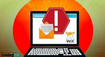 "graphic of a laptop computer with letter and envelope and ""stop"" images next to a Wix logo"