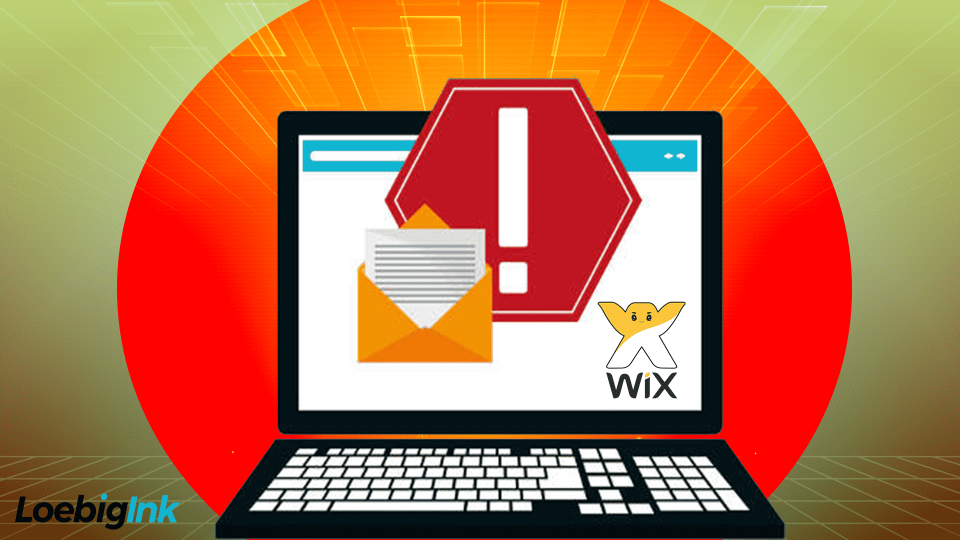 """graphic of a laptop computer with letter and envelope and """"stop"""" images next to a Wix logo"""
